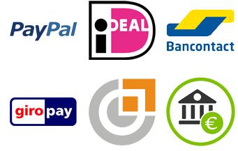 Je kunt betalen via Paypal, Ideal, Bancontact, Giropay, Sofort banking en vooraf overboeken.